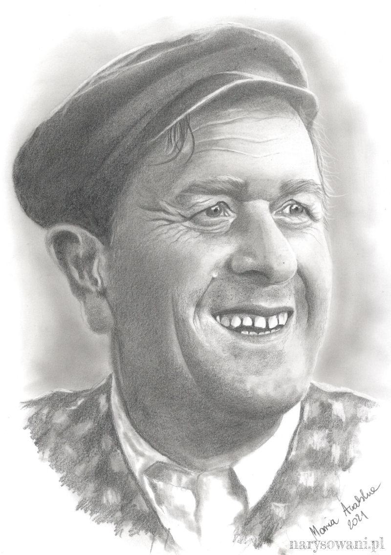 Portret starego człowieka z beretem na głowie.