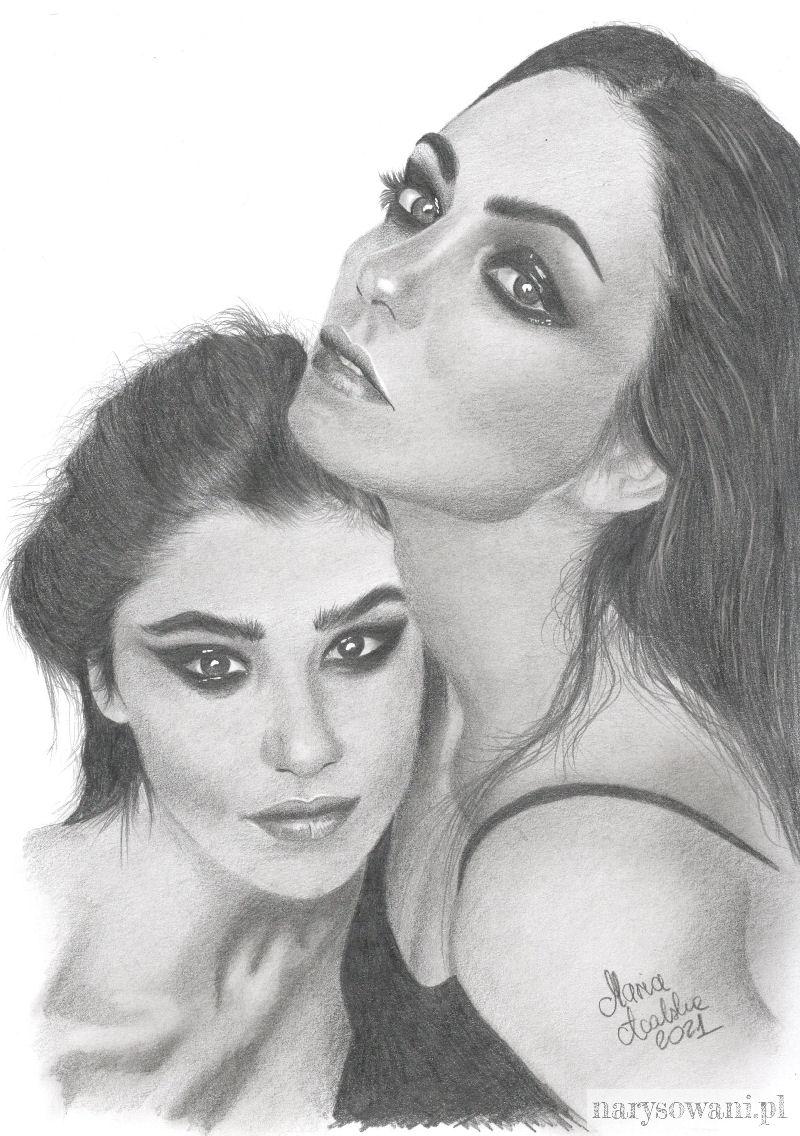 Portret dwóch półnagich kobiet, kochanek.