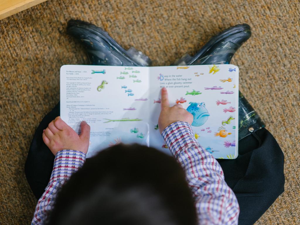 criança lê na escola