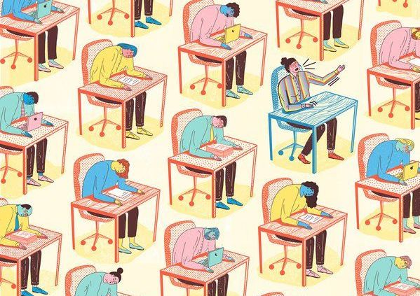 People working together on their desks with their heads down in stress and workload