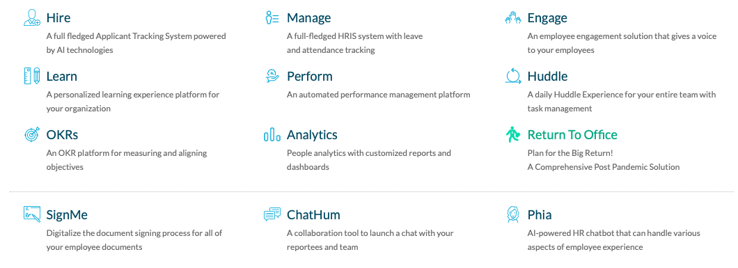 modules and services of an HCM platform from hiring, management, engagement, learning and development, analytics and more