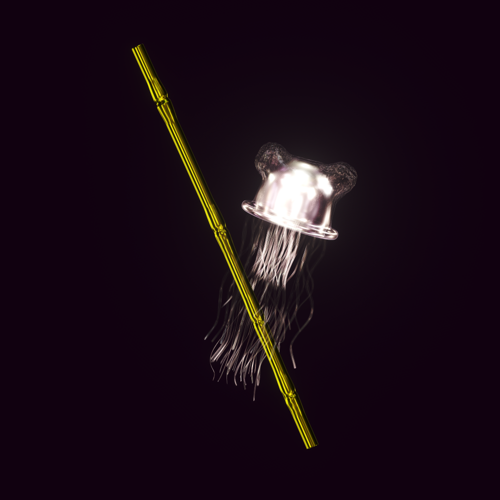 A black and white Jellyfish with it's tentacles wrapped around a golden shoot of bamboo