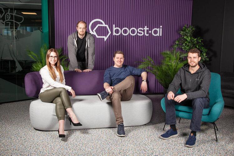 Boost.ai management team: Camilla Gjetvik (COO), Lars Ropeid Selsås (CEO & founder), Henry Vaage Iversen (CCO & co-founder), Hadle Ropeid Selsås (CCO & co-founder) [Photo by Anne Kristin Aanestad / boost.ai 2021]