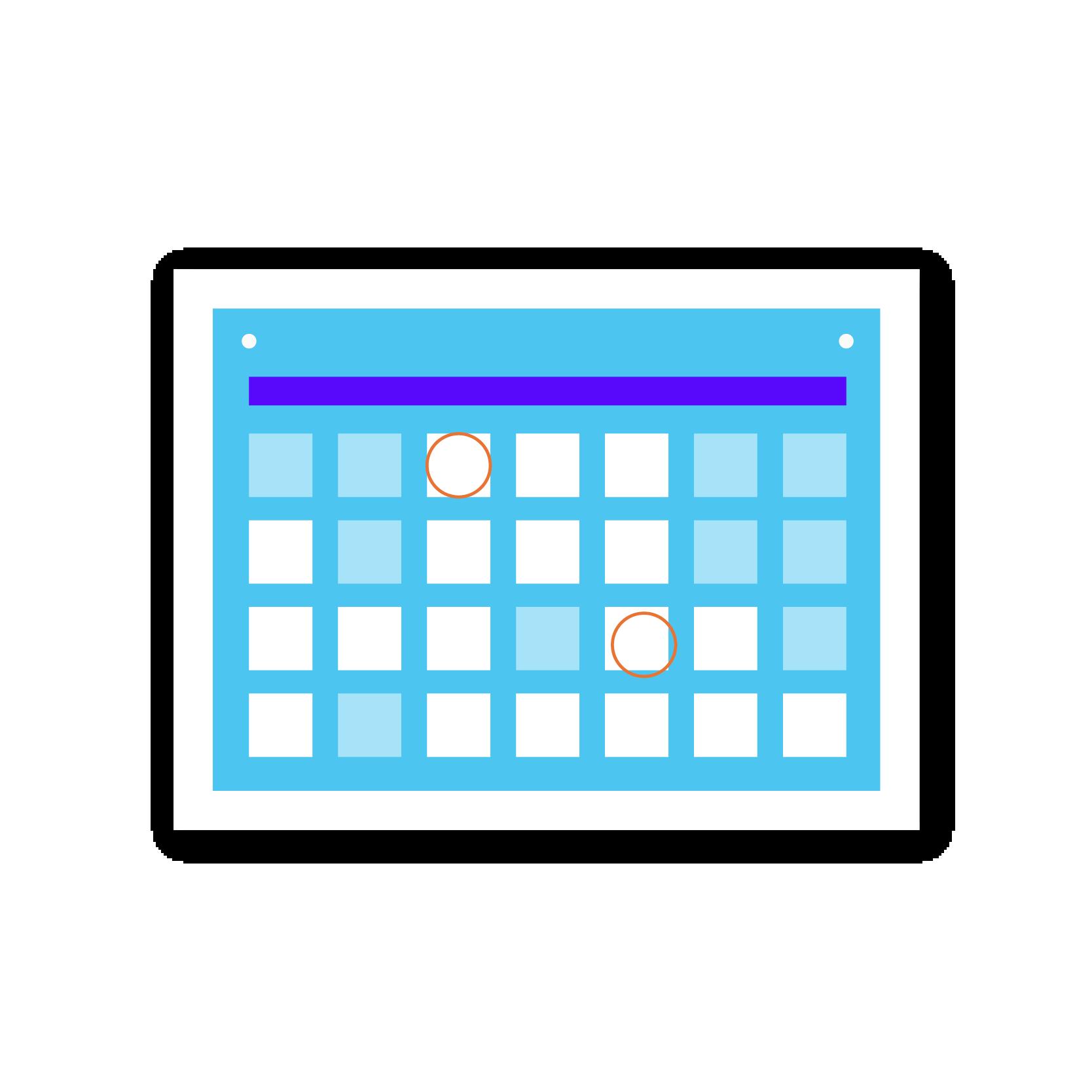 A blue calendar sticker
