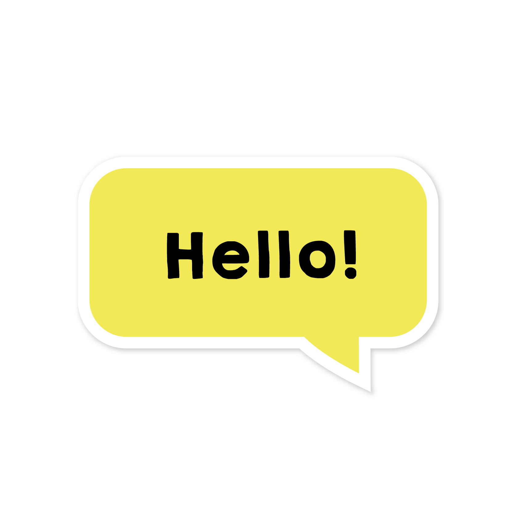 A yellow sticker that says 'Hello!'