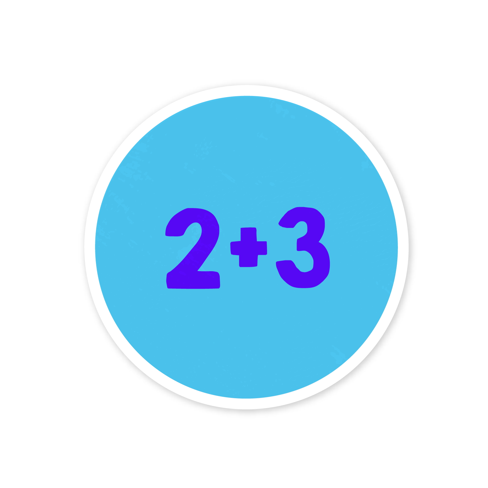 A blue sticker that says '2+3'