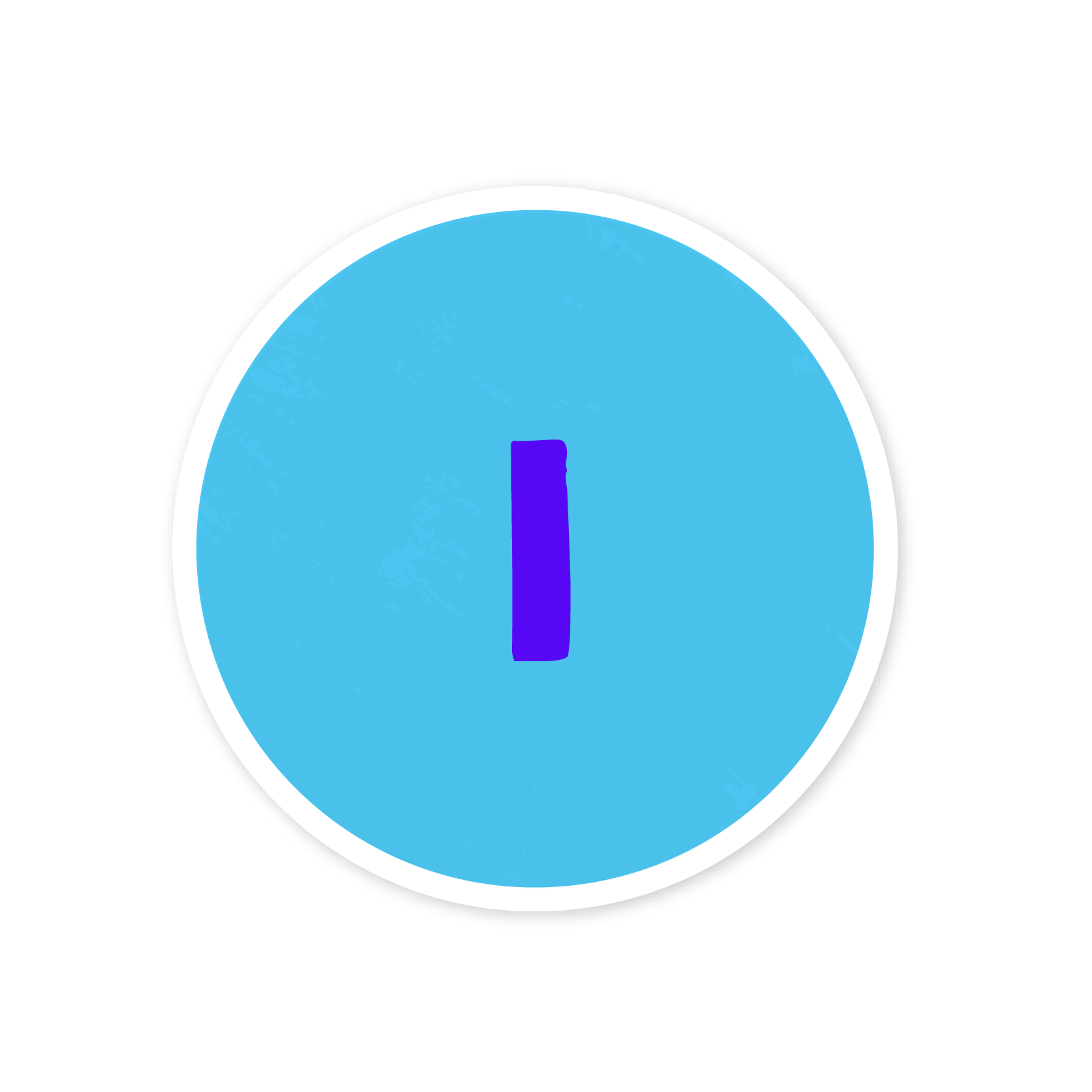 A blue number one sticker