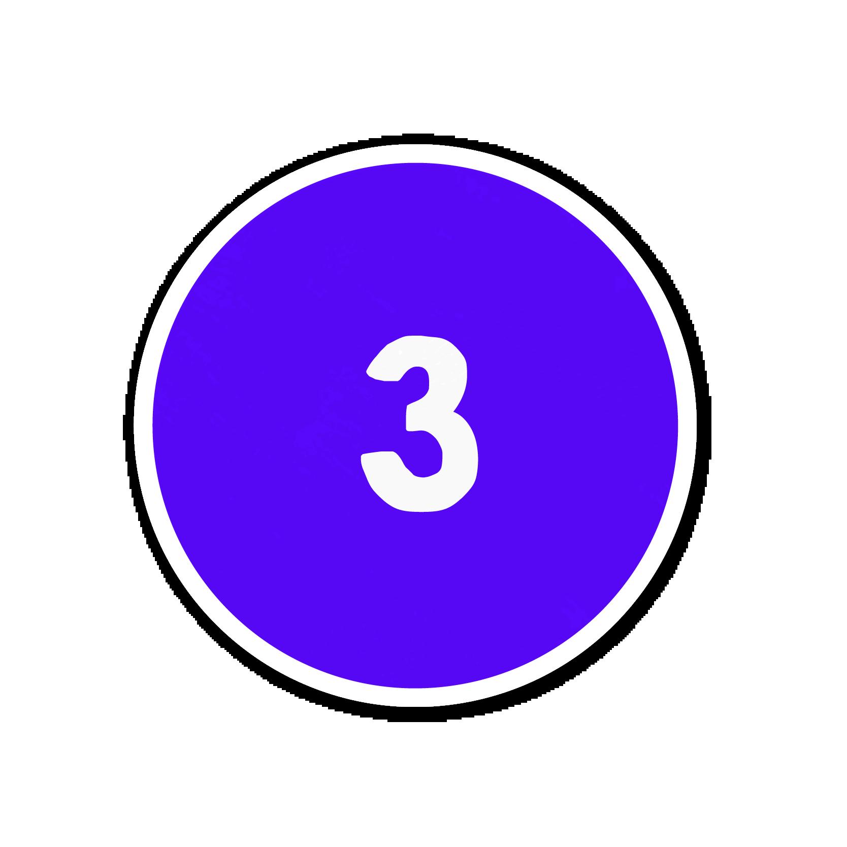 A purple number three sticker