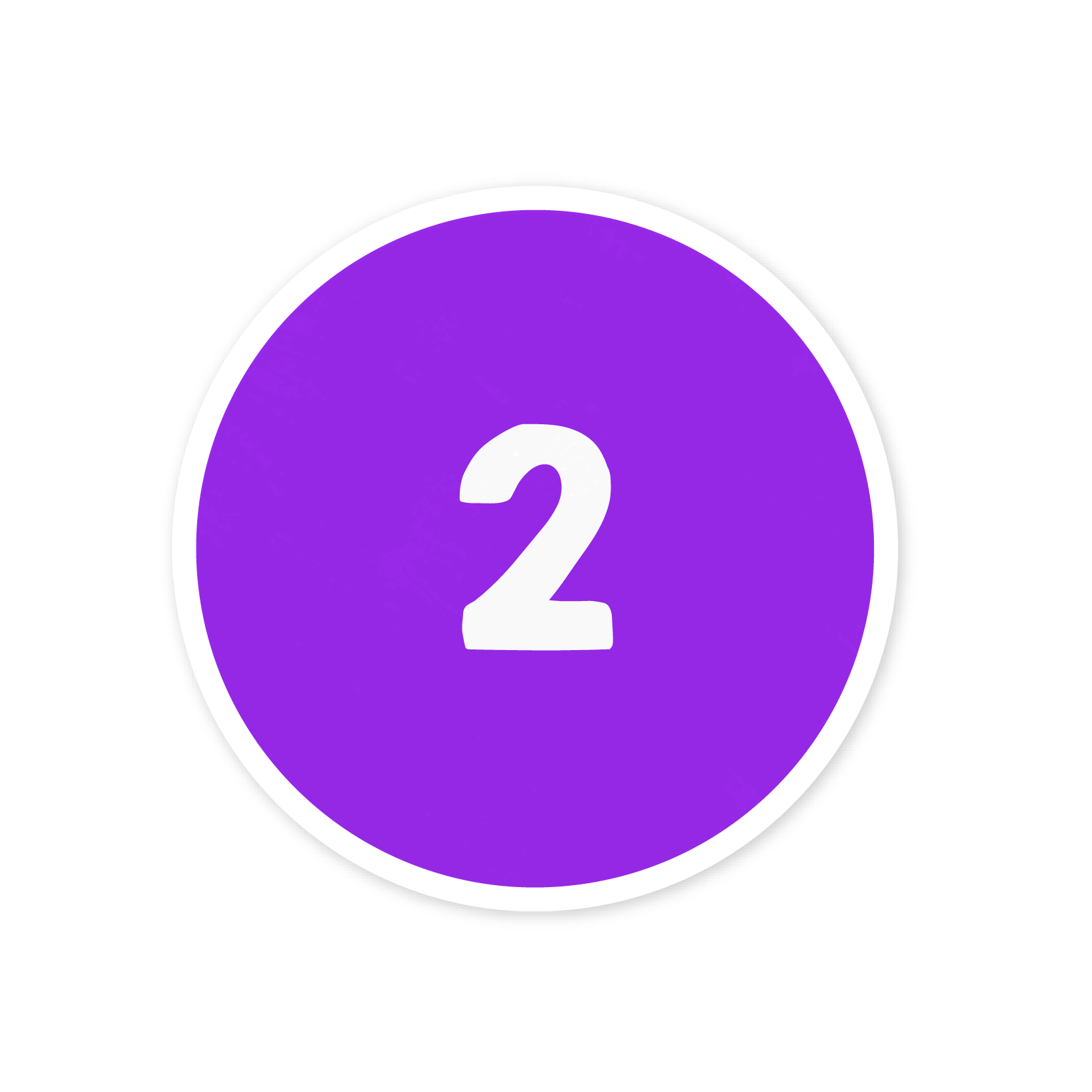 A violet number two sticker