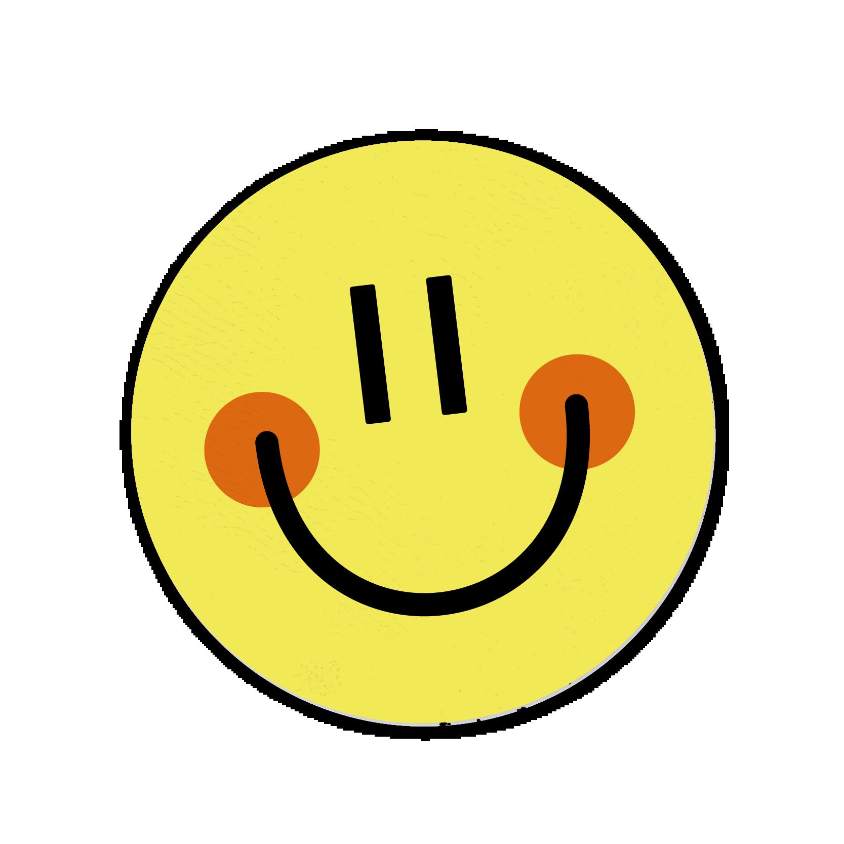A yellow smiley face sticker