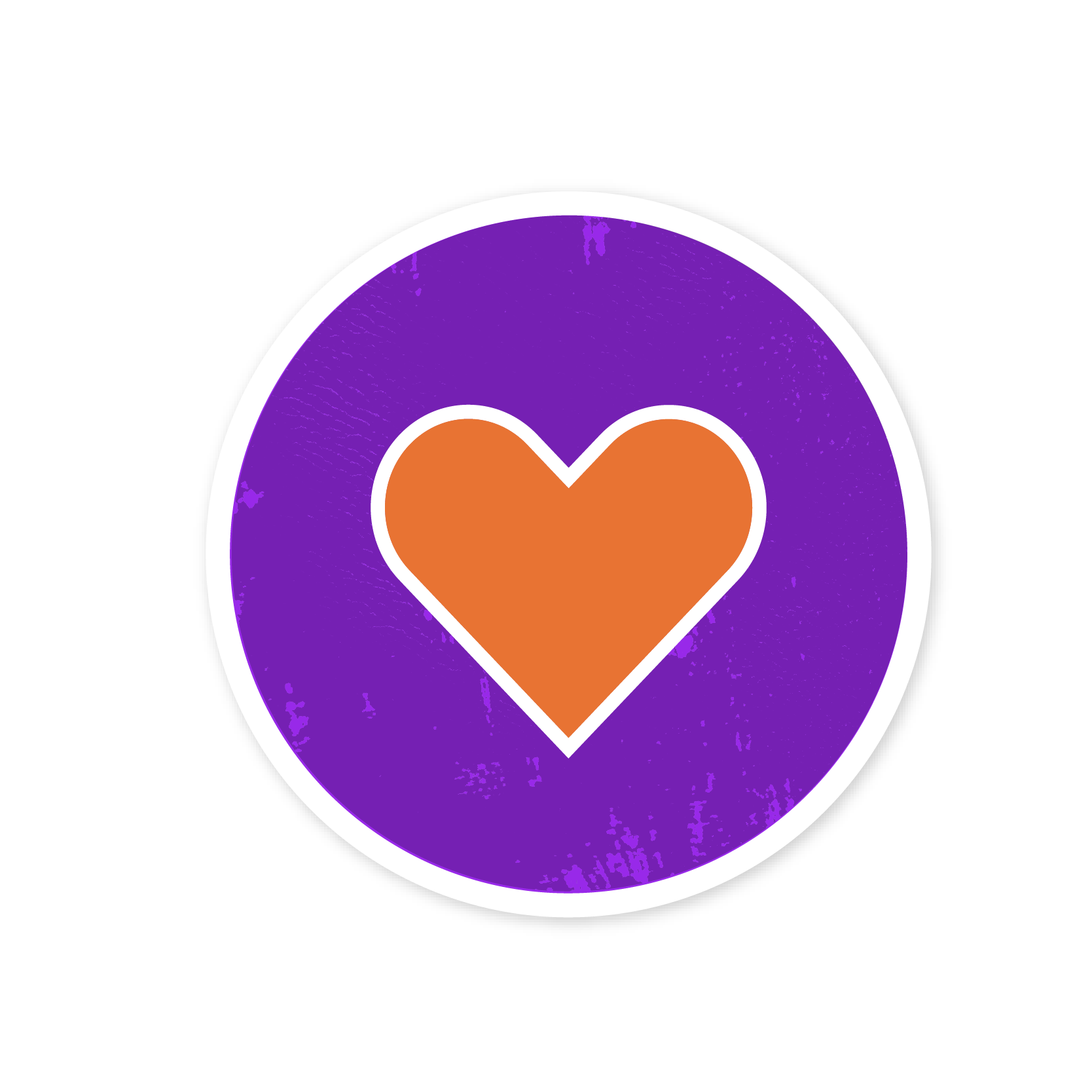 A sticker with a heart