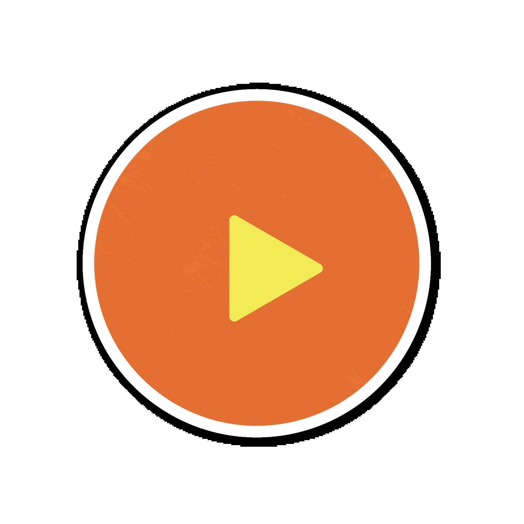An orange play button