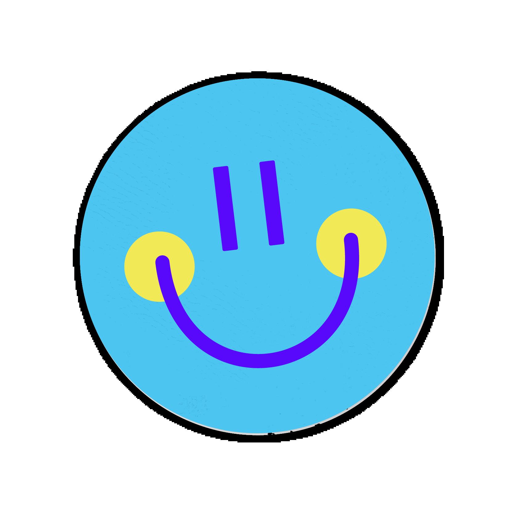 A blue smiley face sticker