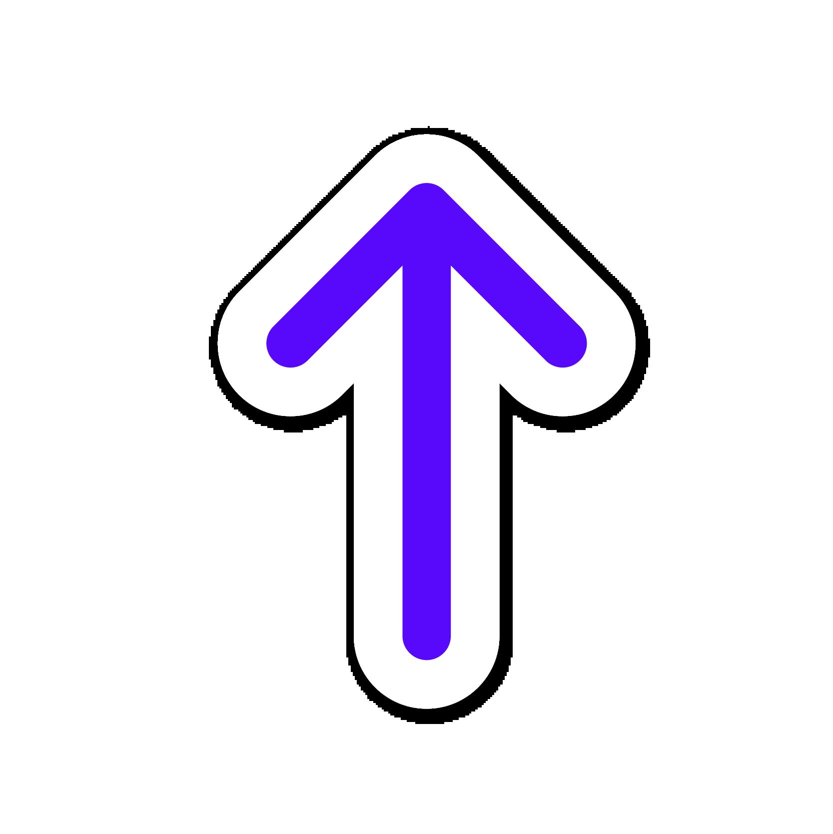 A purple arrow sticker