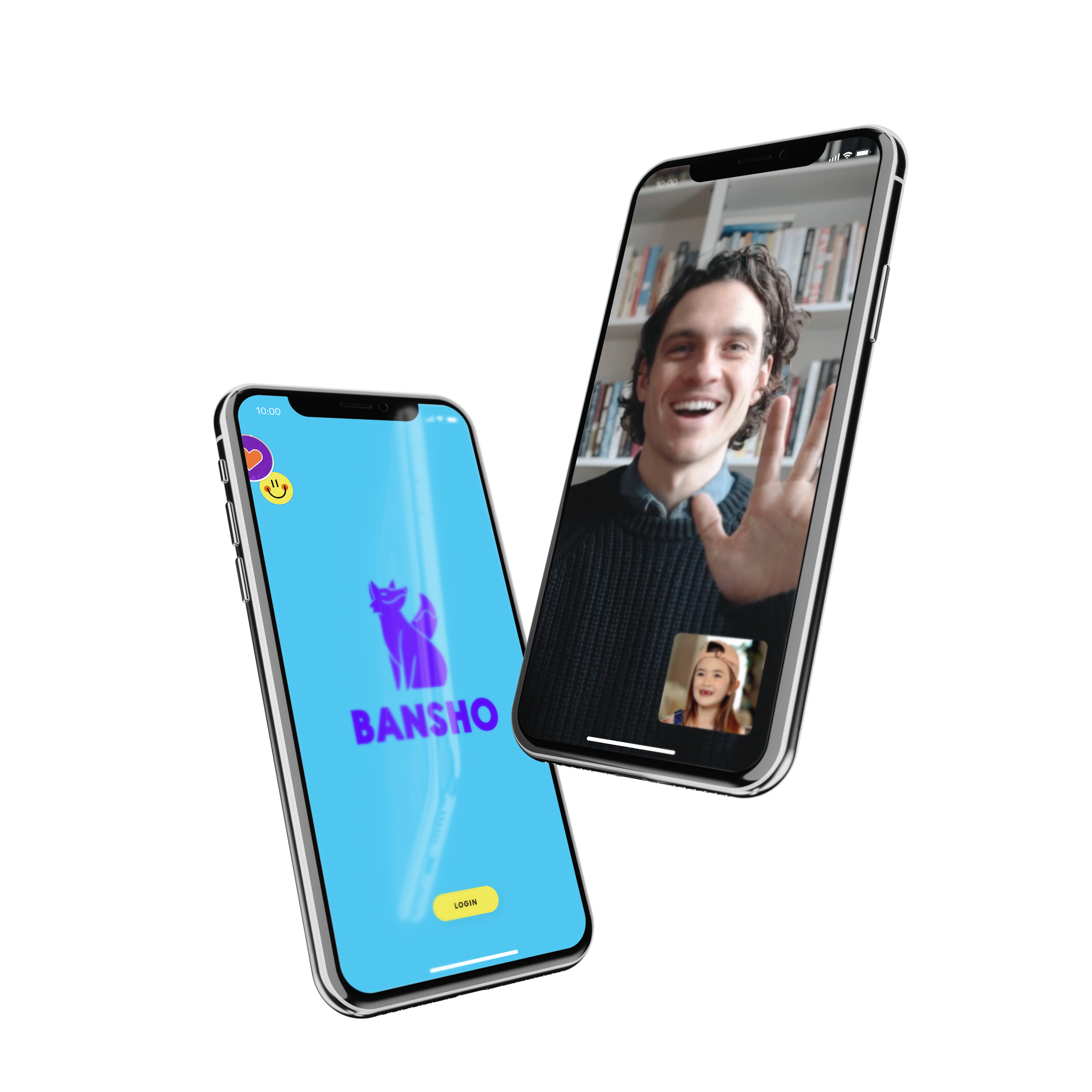 Two iPhones floating next to one another. One shows the Bansho logo. The other shows a video chat between a learning partner and student.