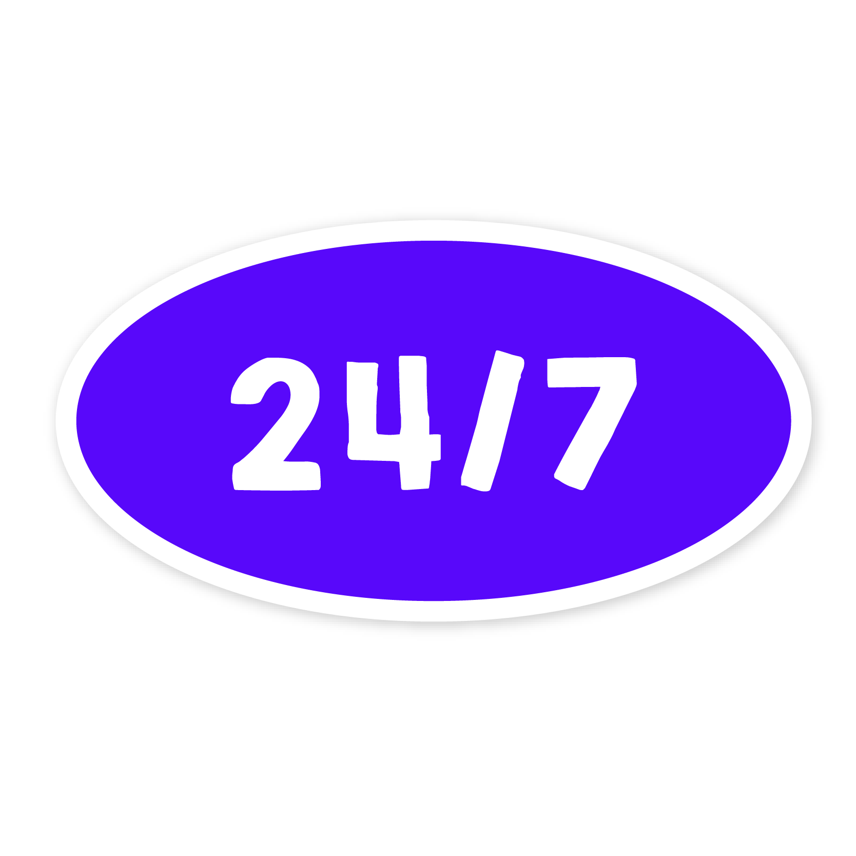 A purple sticker that says '24/7'