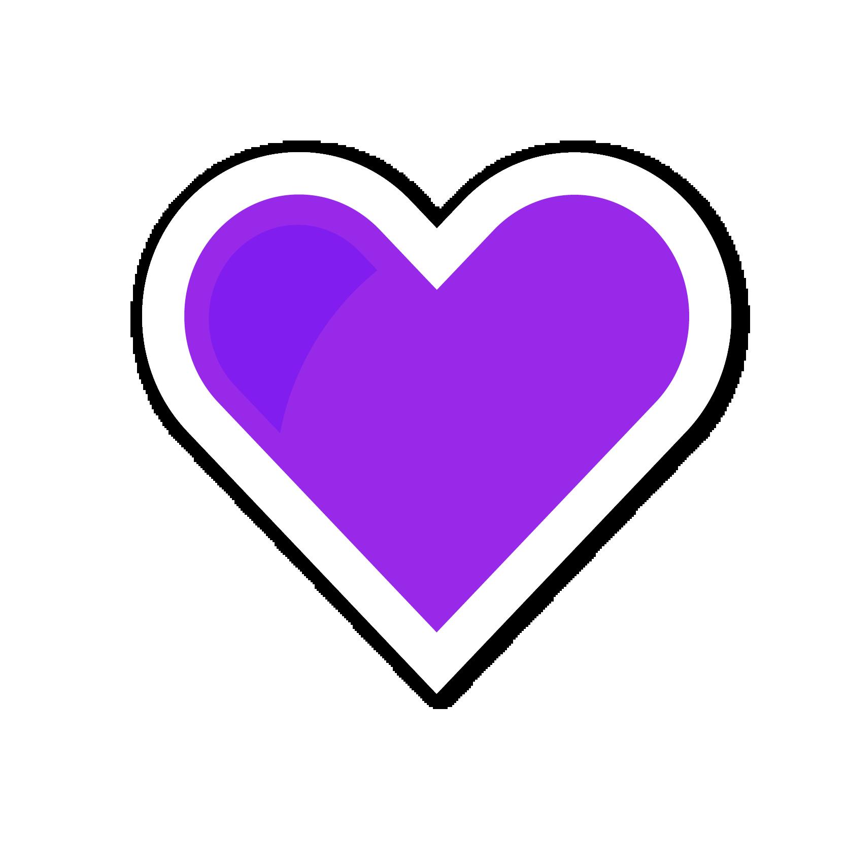 A violet heart sticker