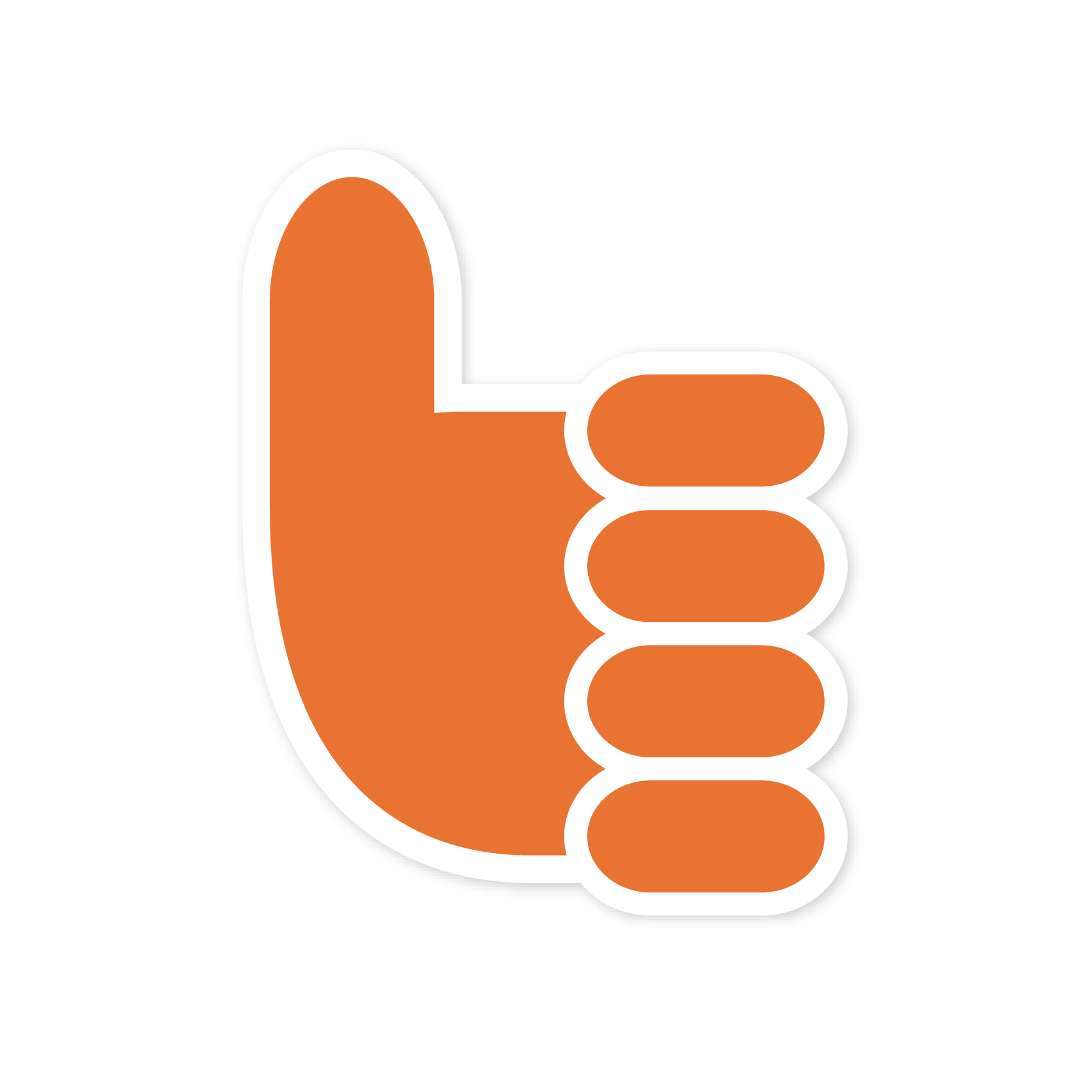 An orange thumbs up sticker