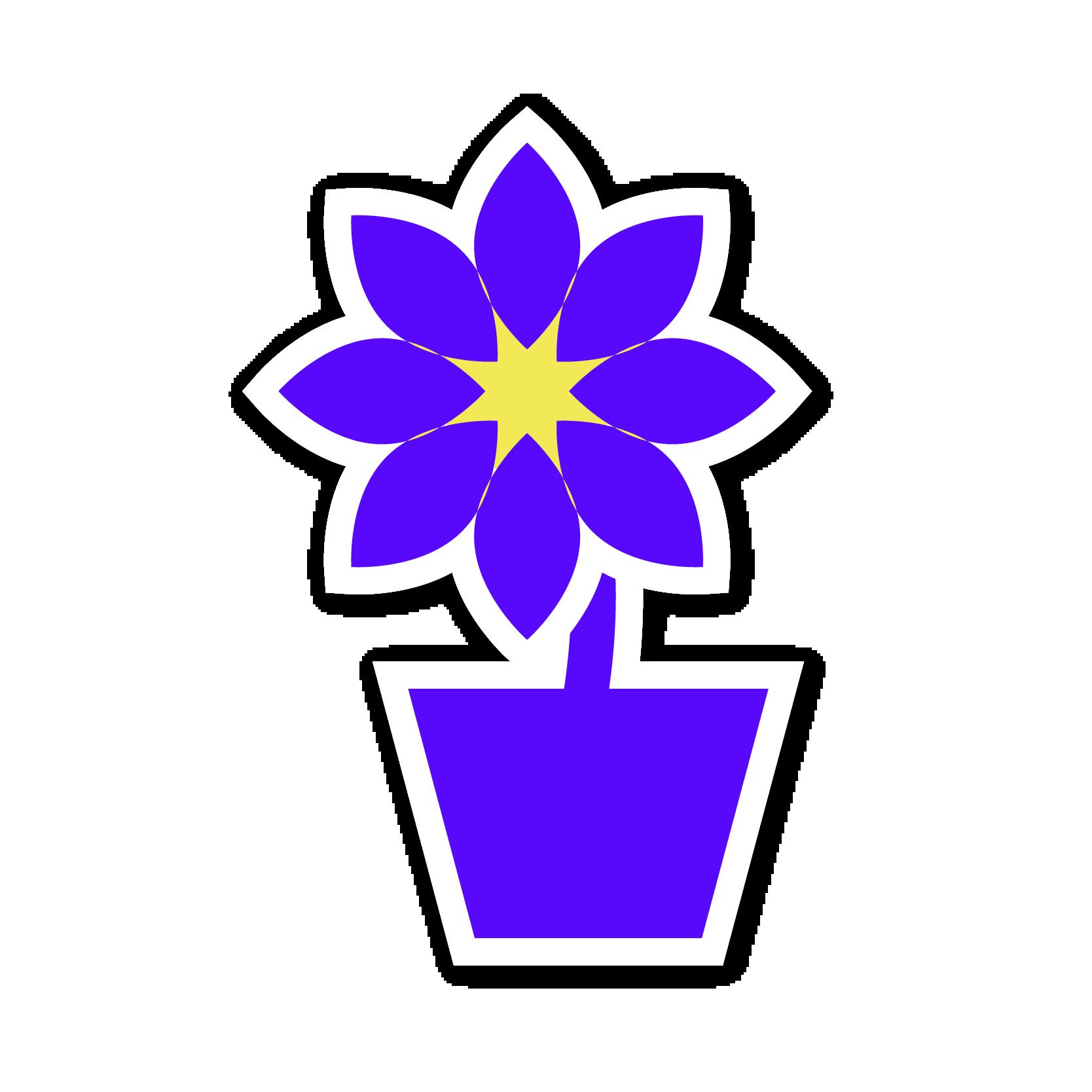 A purple plant sticker