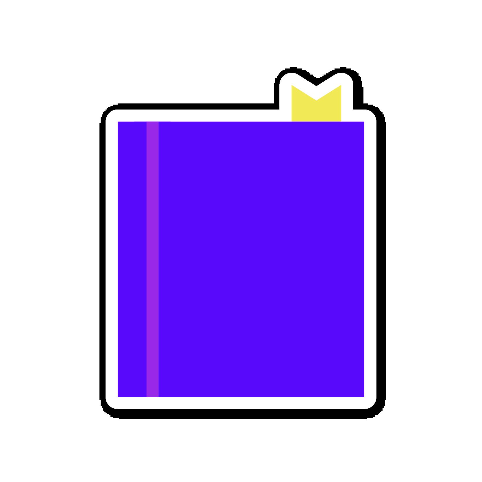 A purple book sticker