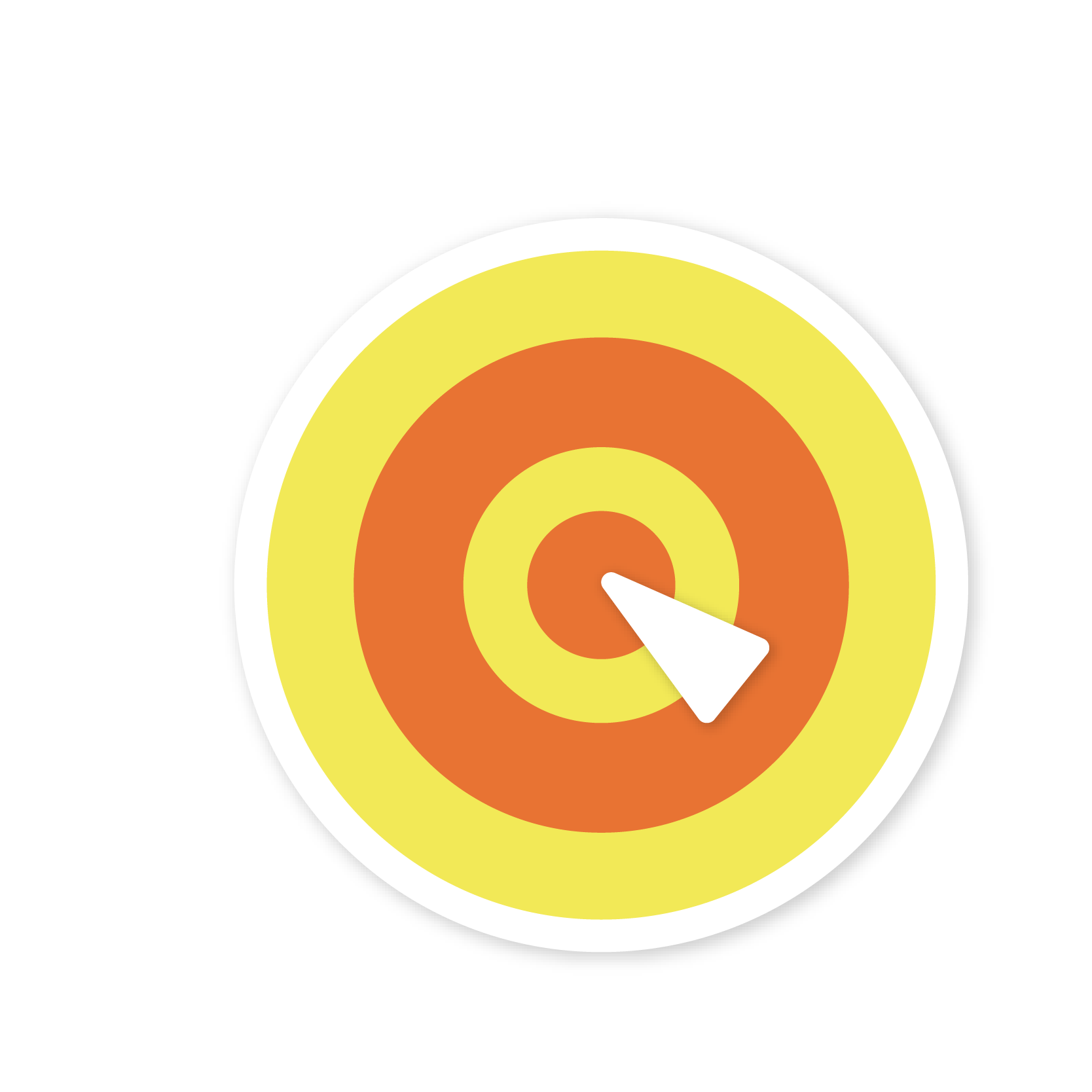 A yellow bull's eye target sticker