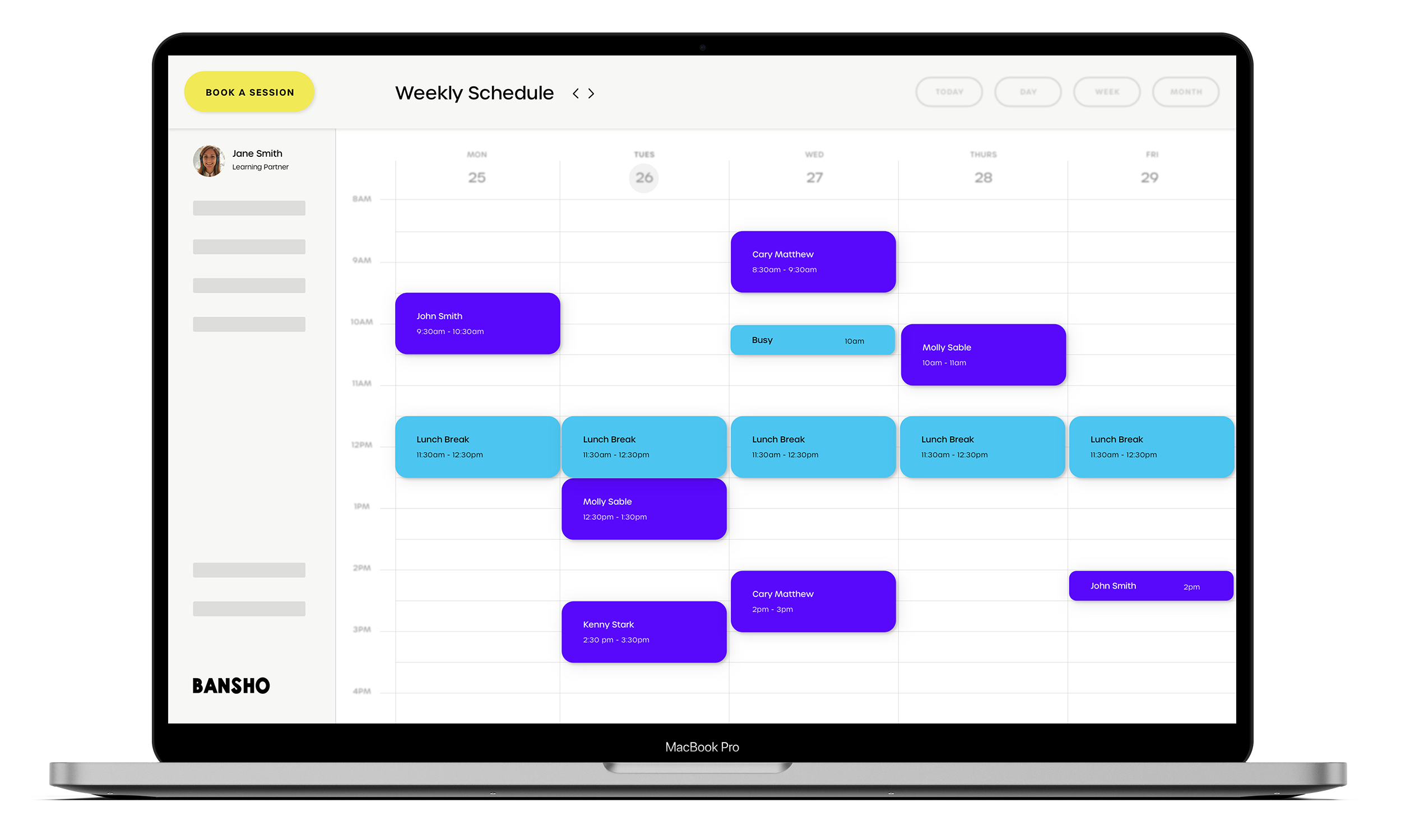 A laptop showing a mockup of the Bansho scheduling app