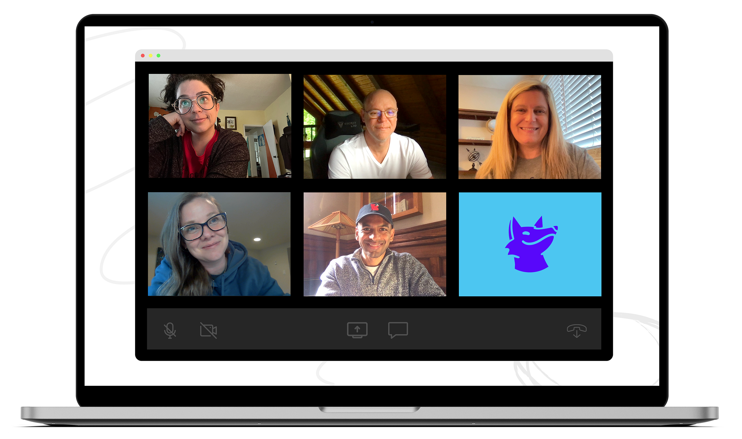 A laptop showing participants on a video call