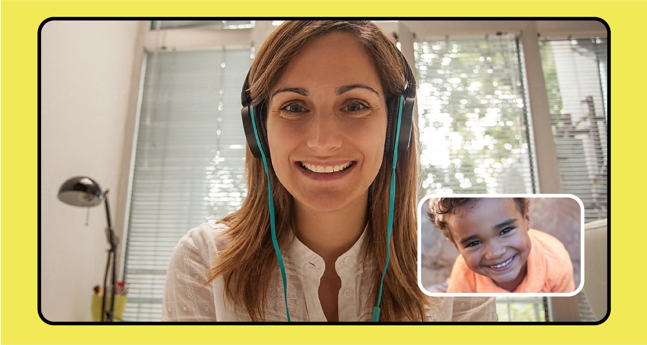 A yellow graphic with a screenshot of a video call between a young child and a learning partner