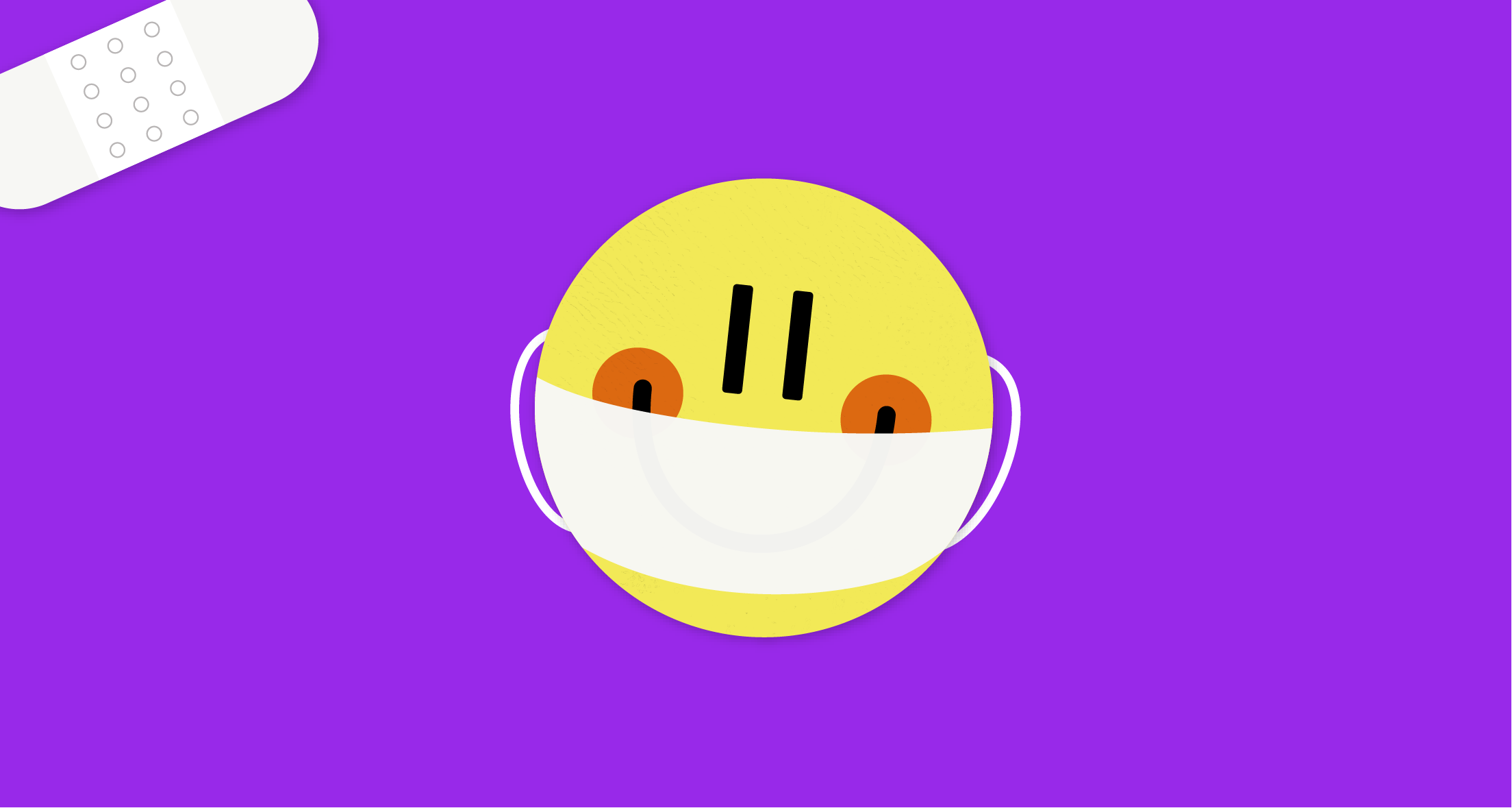 A violet graphic with a bandaid sticker and a yellow smiley face wearing a mask