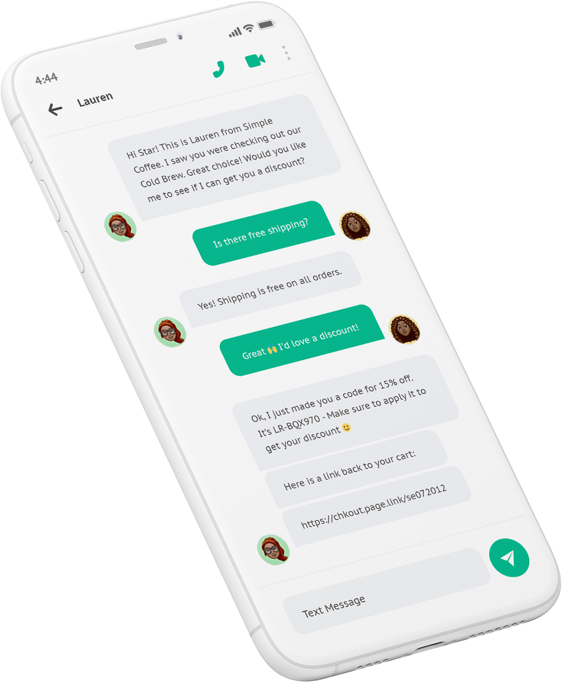 LiveRecover text conversation on mobile phone.