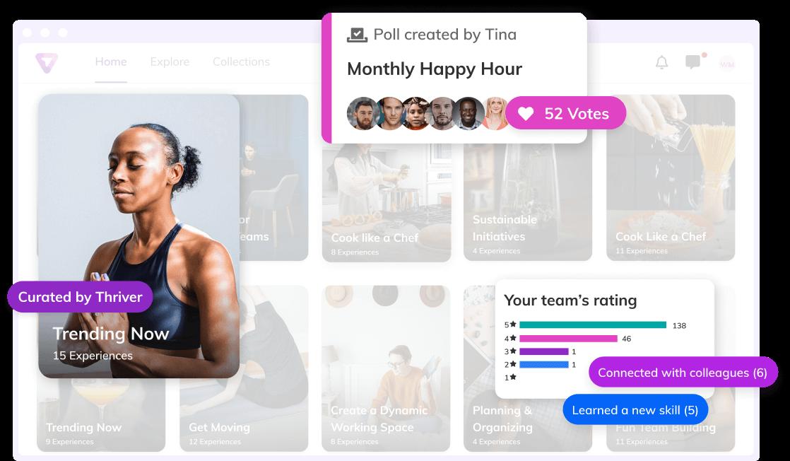 Thriver platform screenshot highlighting key features