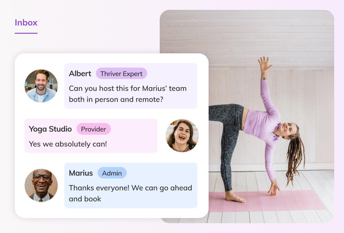 Screenshot of the Thriver platform Inbox and messaging tool