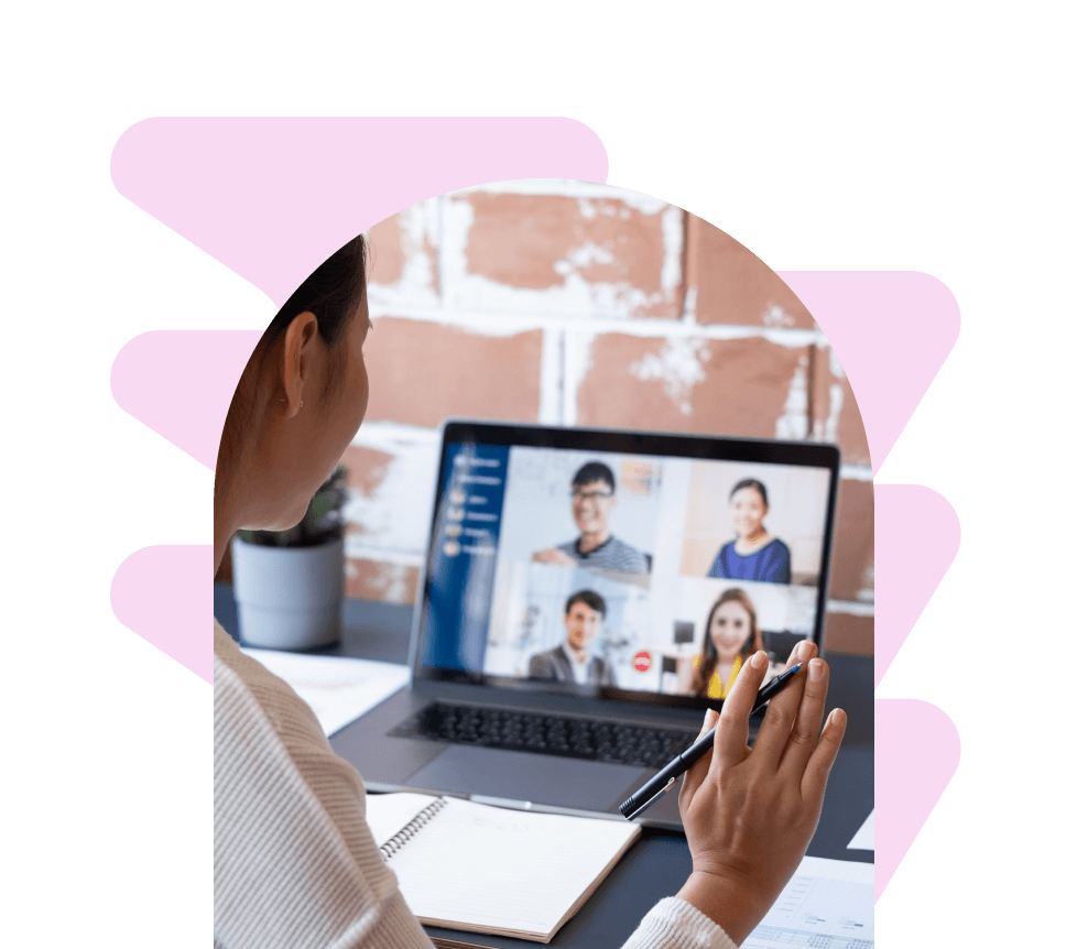 Employee on a video call with team members