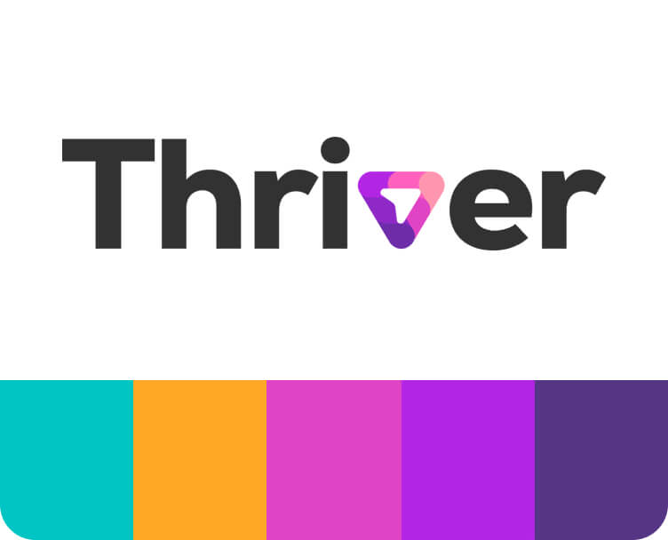 Thriver's logo and brand assets to download
