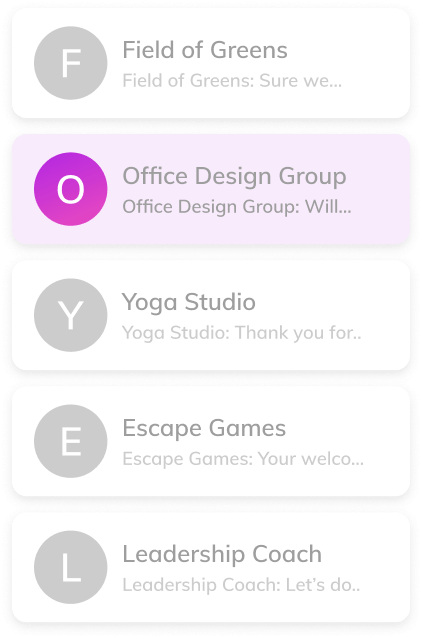 Thriver platform screenshot showing communication with the office design group provider.