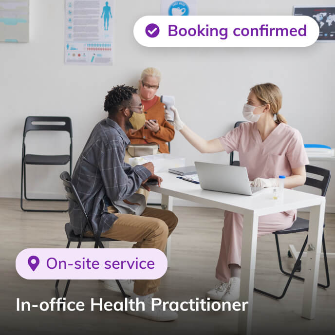 Screenshot of Thriver platform highlighting an in-office health practitioner