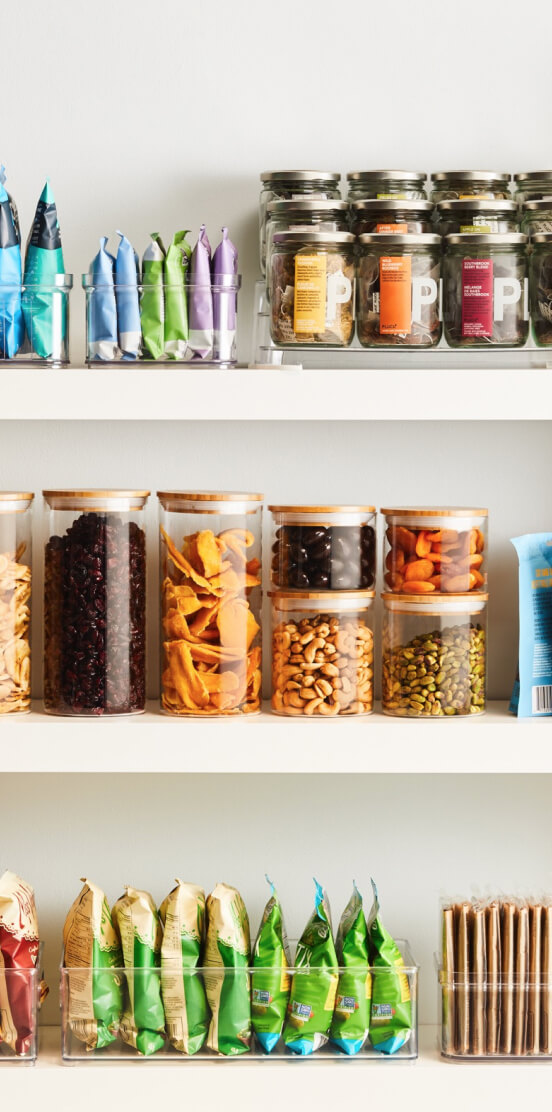 Pantry stocked with snacks