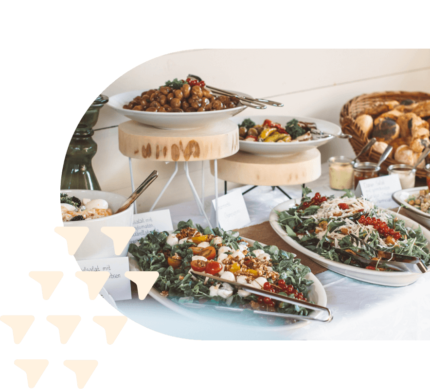 Catered meal displayed buffet style