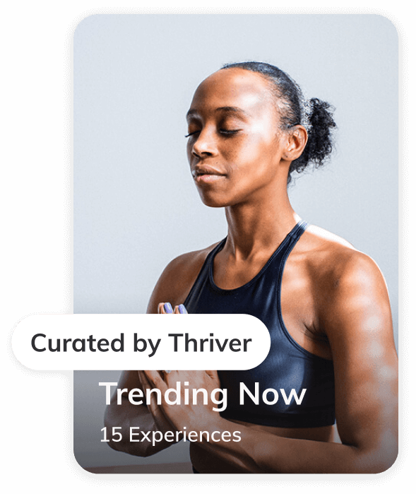 Trending now collection curated by Thriver showing a meditation coach in a virtual experience.