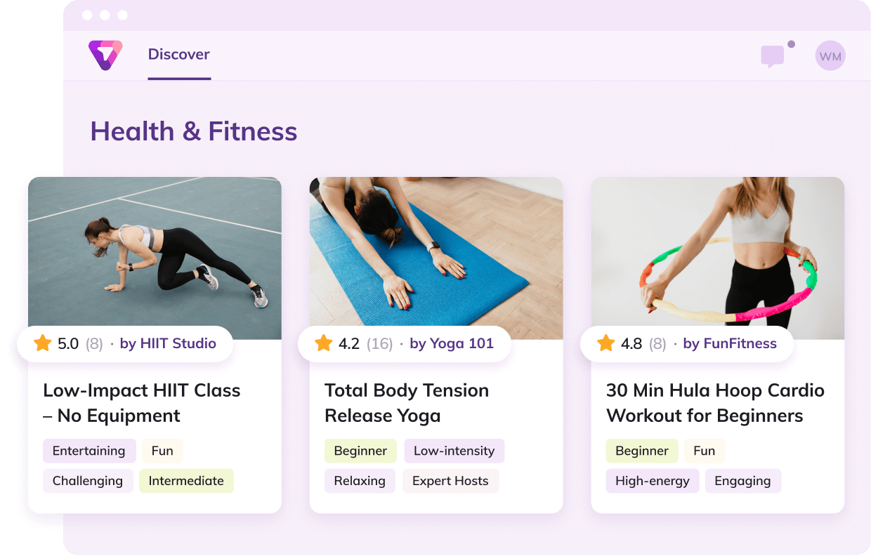 Thriver platform services related to health and fitness