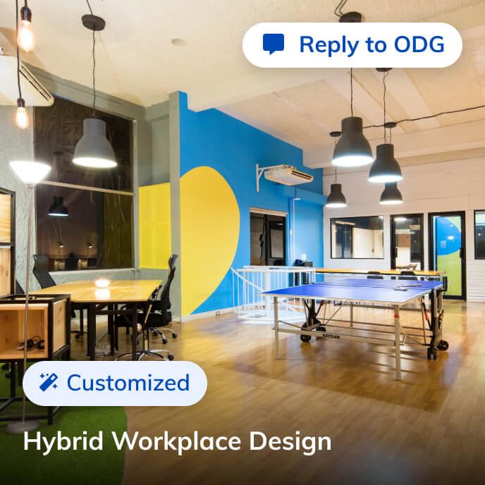 Screenshot of Thriver platform highlighting a hybrid workplace design service
