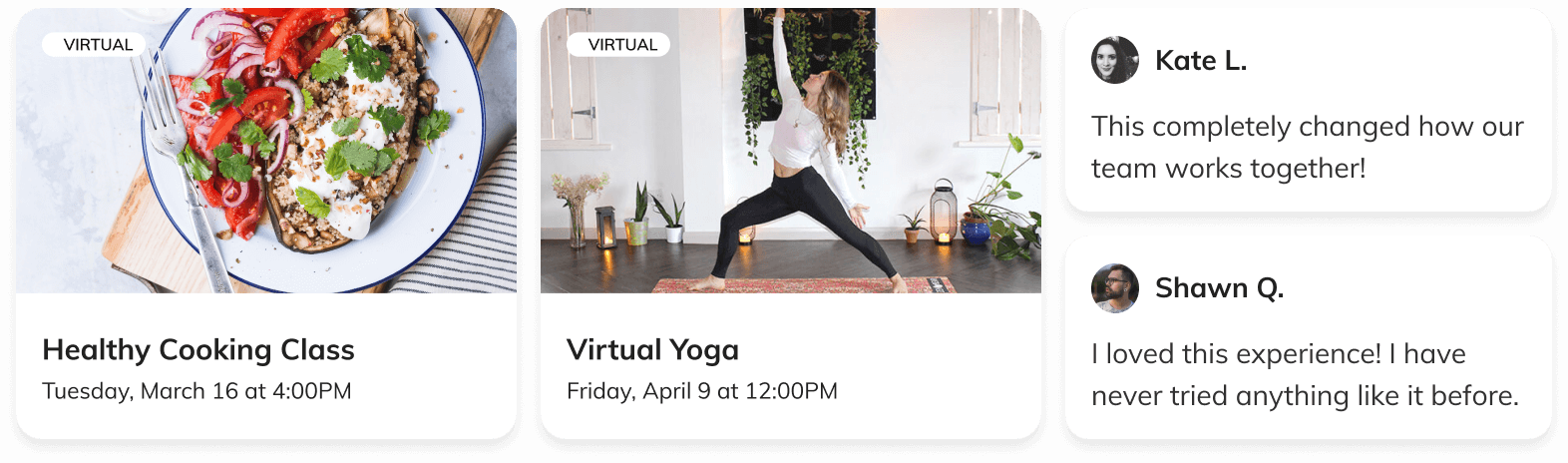 healthy cooking classes and virtual yoga experiences on the Thriver platform with employee feedback