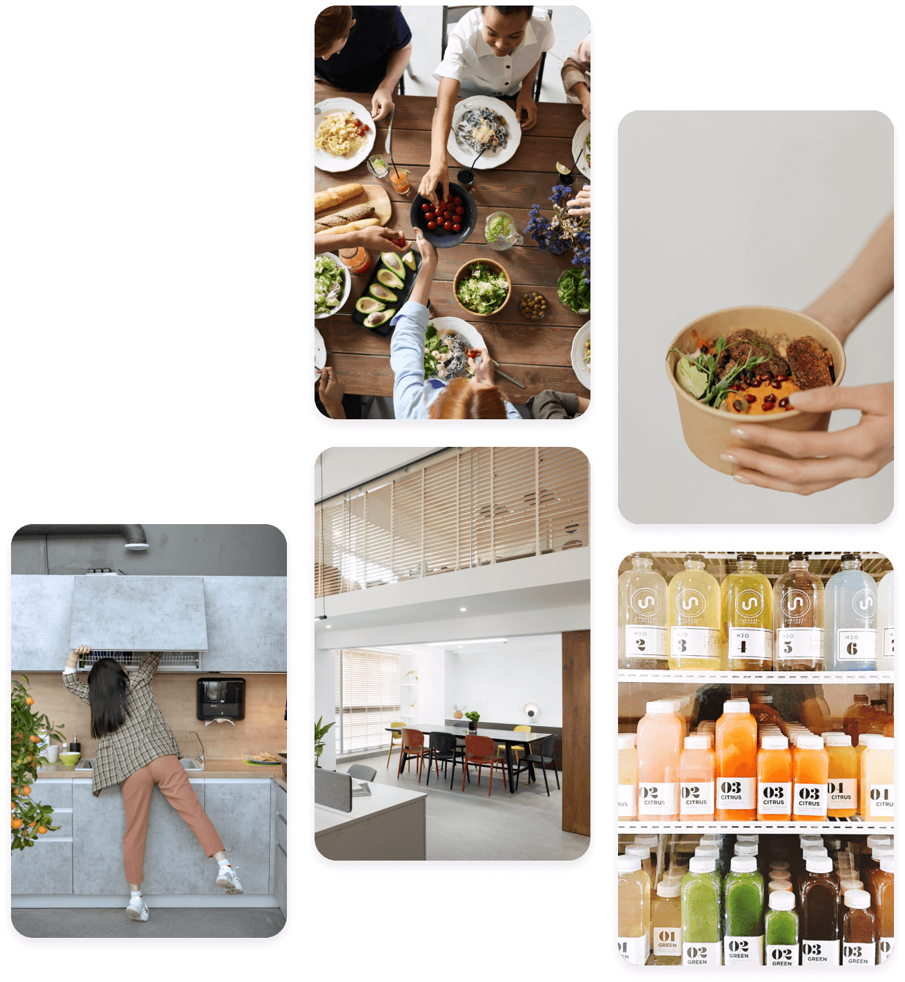 Series of images showing food, packaged snacks and kitchen space in the office