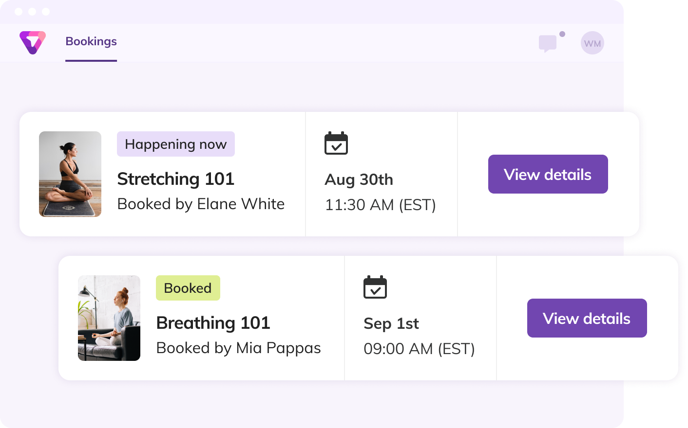 A booking dashboard with upcoming services on the Thriver platform