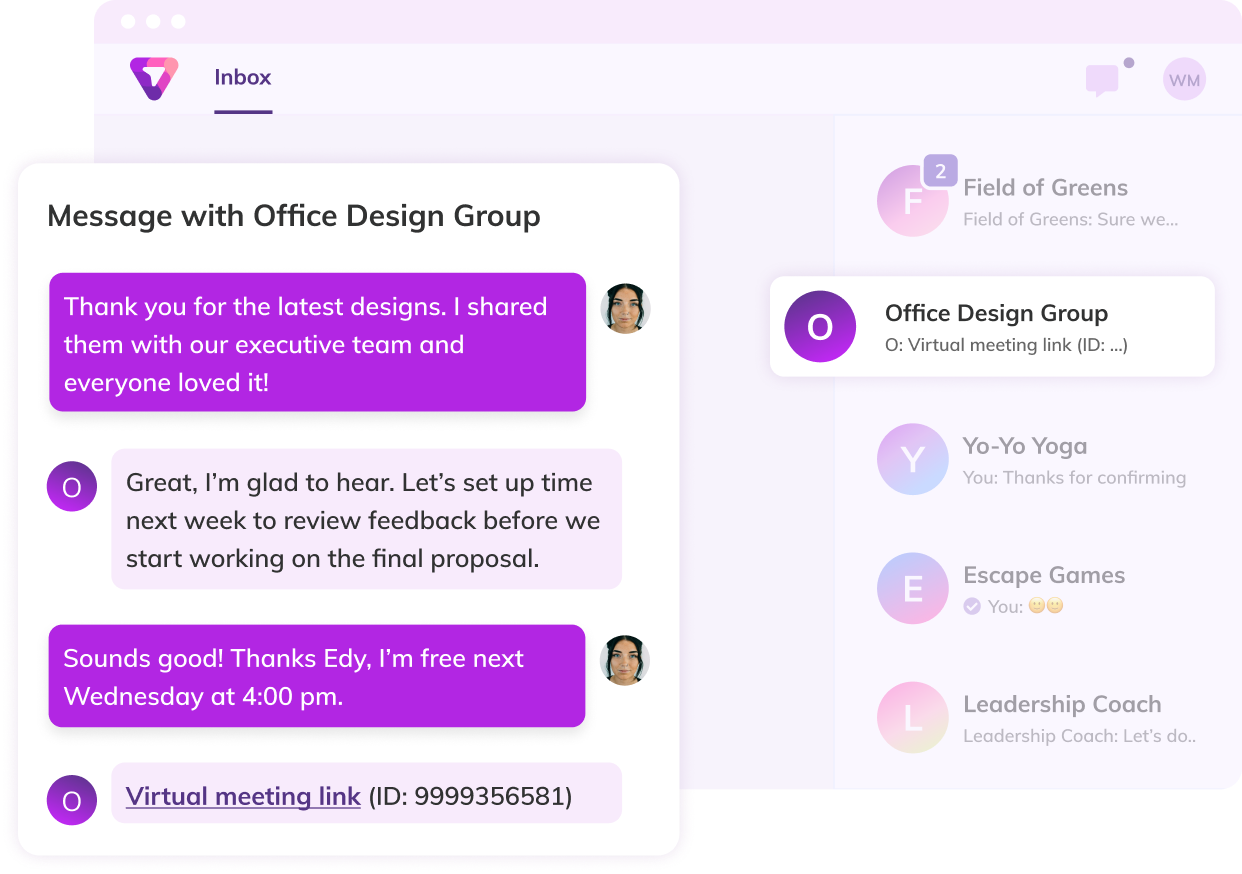 Inbox messaging feature on the Thriver platform