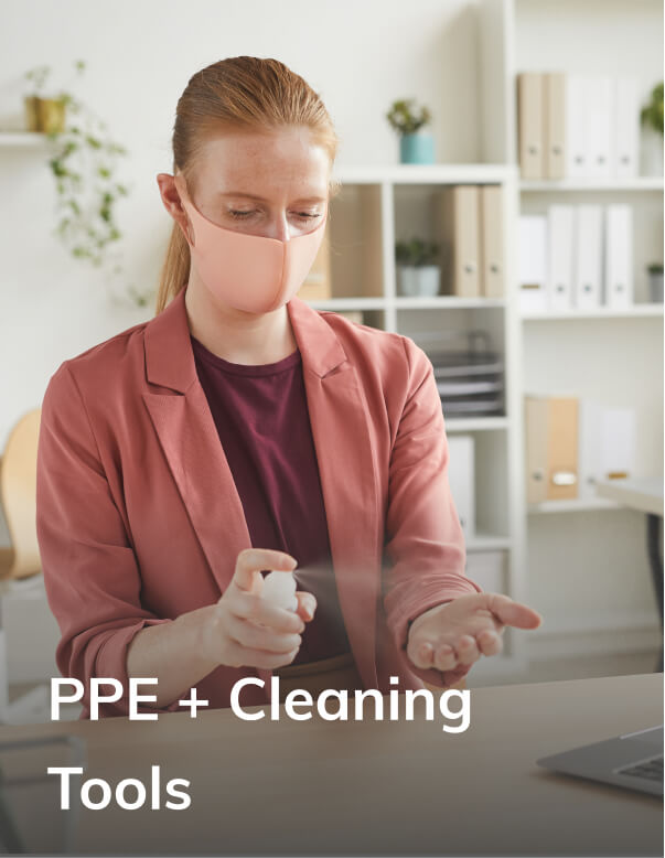 PPE and cleaning tools for office