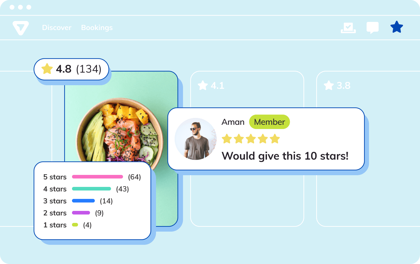 Screenshot of feedback and rating feature on the Thriver marketplace, showing client's review for an office lunch catering service