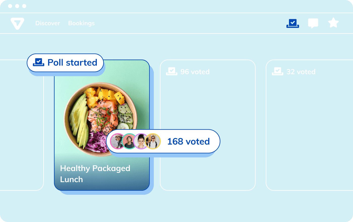 Screenshot of the polling feature on the Thriver marketplace. Poll created by HR manager for healthy packaged lunch