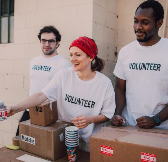 group of people volunteering