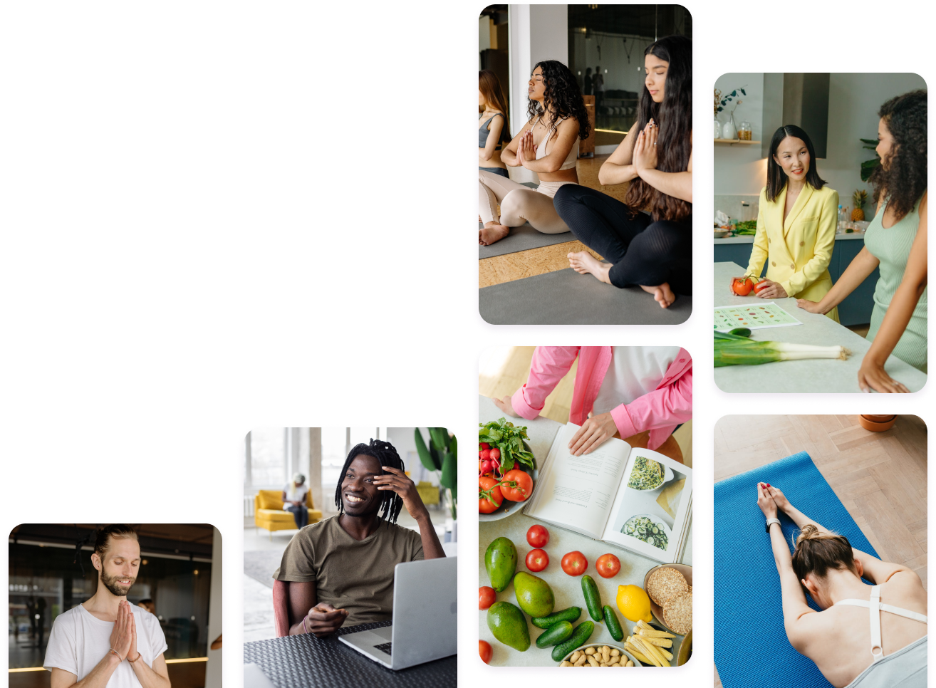 Image consists of several images depicting people engaged in various wellness activities, such as yoga, meditation, cooking classes